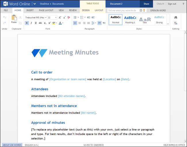 Microsoft Word Online Meeting Tool