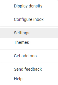 Gmail Setting in Drop down menu