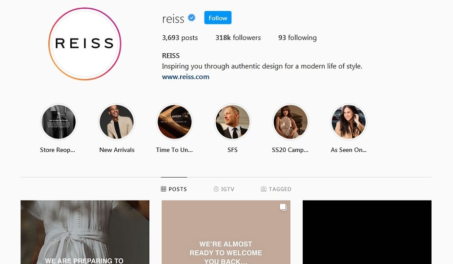 reiss instagram