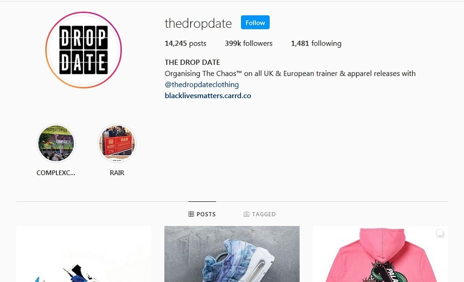 the drop date instagram